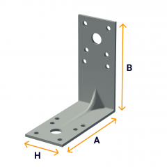 Special angle brackets with a reinforcing rib